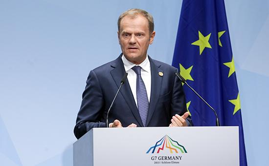 Председатель Европейского совета Дональд Тускна пресс-конференции перед открытием саммита G7