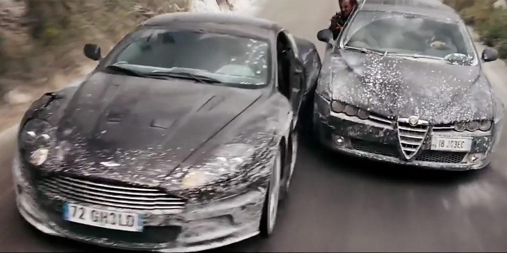 «Квант милосердия» (2008)  Еще одна всем известная серия фильмов про специального агента 007 Джеймса Бонда, в каждом из которых обязательно присутствует, помимо роковой женщины, секретного оружия и невозмутимого главного героя, уникальный автомобиль. И на этот раз это был Aston Martin DBS, а преследователи мчались на Alfa Romeo 159. На фоне итальянского озера Гарда это преследование смотрится максимально эффектно.