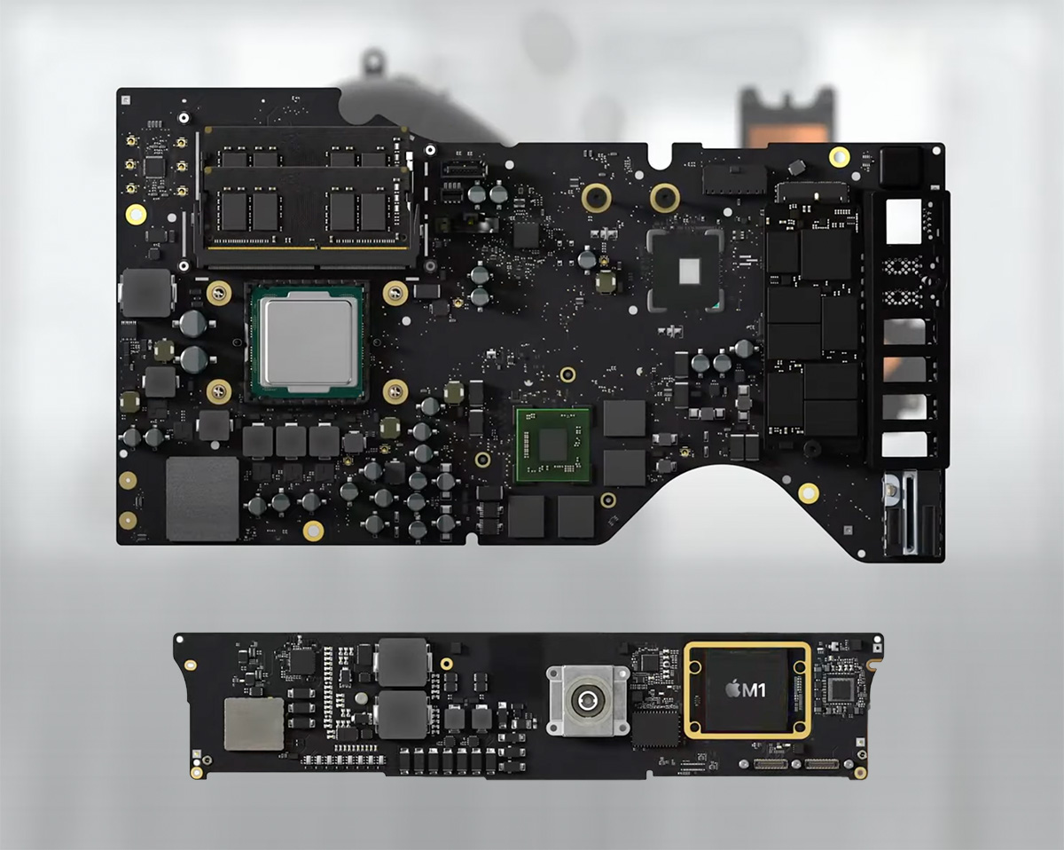 Сверху— материнская плата iMac предыдущего поколения с процессором Intel (x86), снизу— плата iMac 2021 года с чипом M1 (ARM)