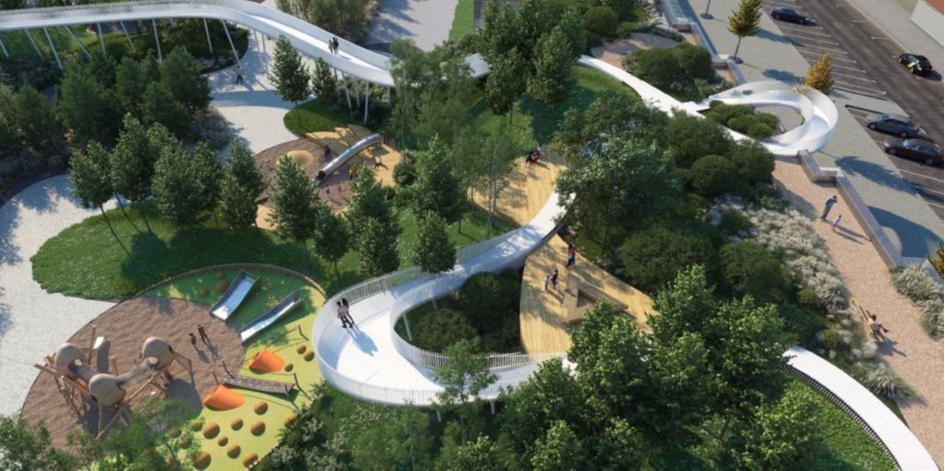 Между корпусами будет организован двор, оборудуют площадки для игр и отдыха, а также посадят деревья и кустарники