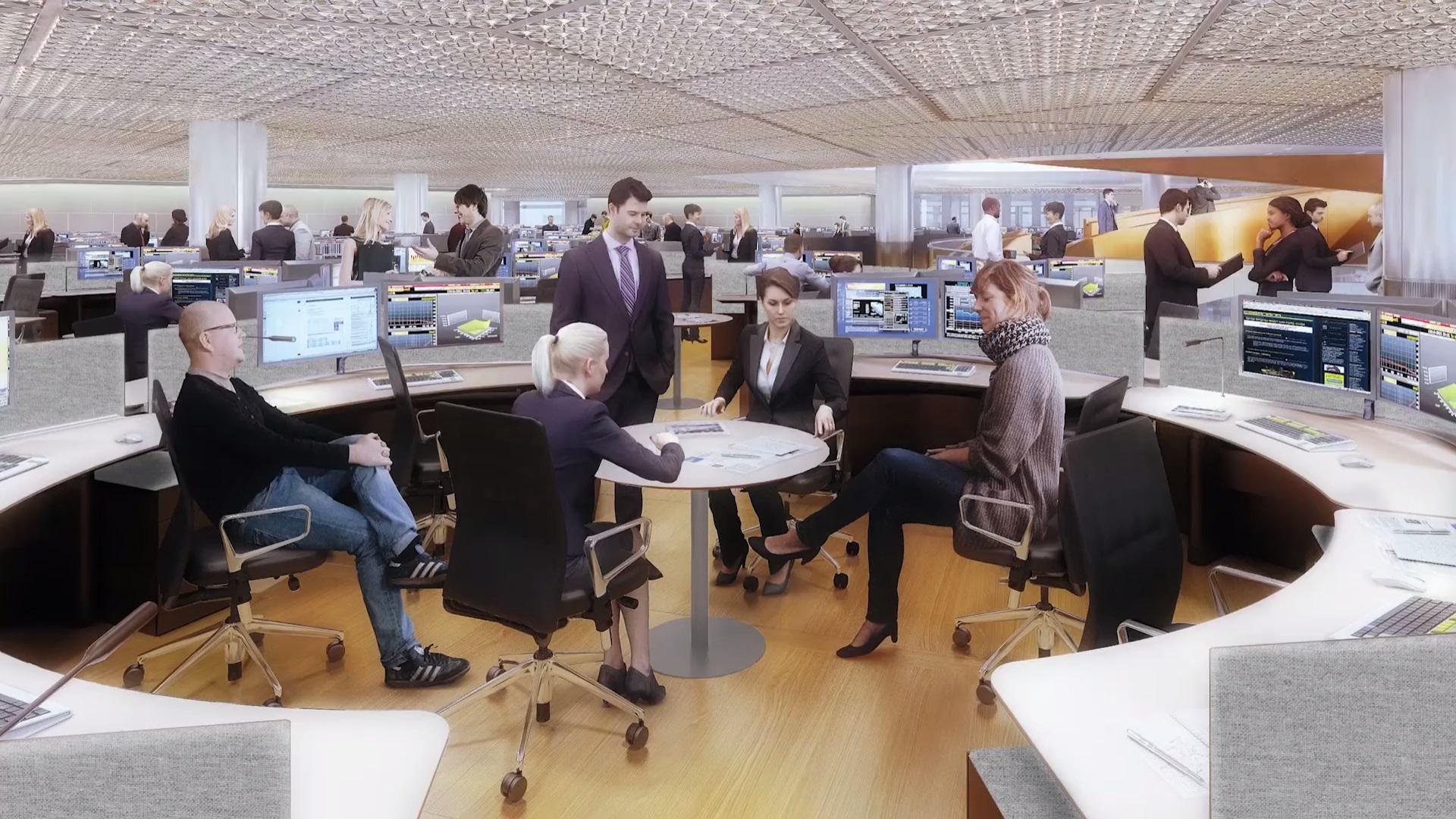 Рабочее пространство организовано в виде круглых секций из шести столов, чтобы сотрудники могли в случае необходимости обратиться к коллегам или коллективно обсудить возникшие вопросы. Каждый рабочий стол при желании трансформируется из сидячего в стоячий или из одиночного в двойной