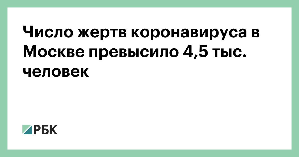 Число жертв коронавируса в Москве превысило 4,5 тыс. человек