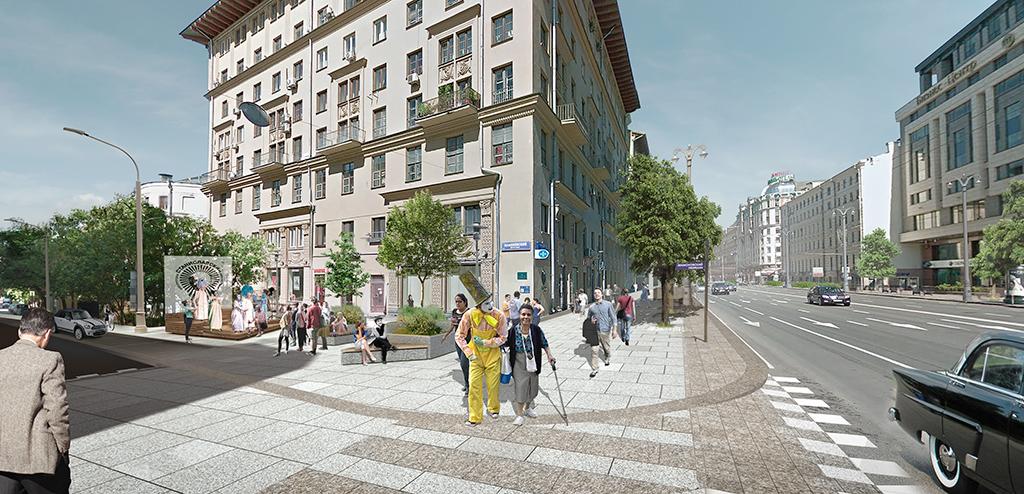 Визуализация проекта благоустройства Тверской улицы в Москве