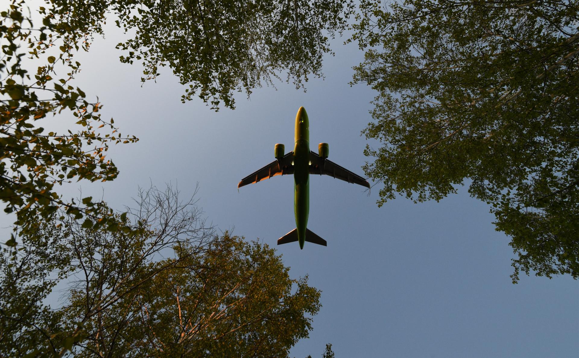 Самолет российской авиакомпании выполняет внутренний рейс