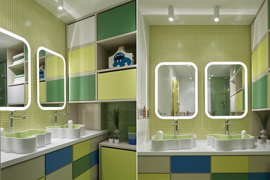 Отличительная особенность этой детской—собственная ванная, рассчитанная надвоих