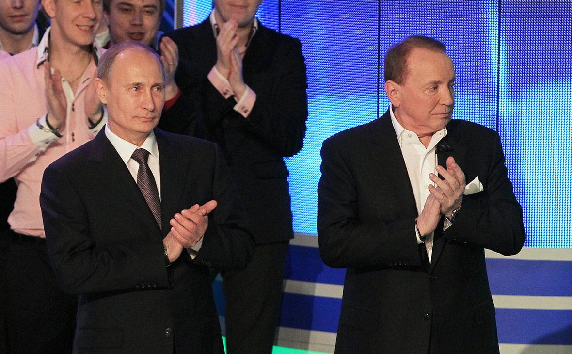 Владимир Путин и телеведущий Александр Масляков. Апрель 2013 года