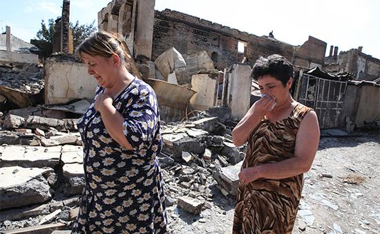 Город Цхинвал вЮжной Осетии, подвергшийся нападению грузинских войск. Август 2008 года