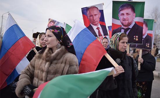 Участники митинга подлозунгом «В единстве наша сила» вподдержку президента Чечни Рамзана Кадырова. 22 января 2016 года