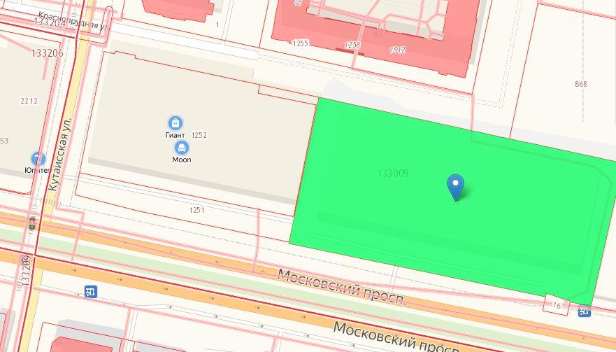 Фото: Скриншот с кадастровой карты (зеленым выделен торгово-выставочный комплекс)