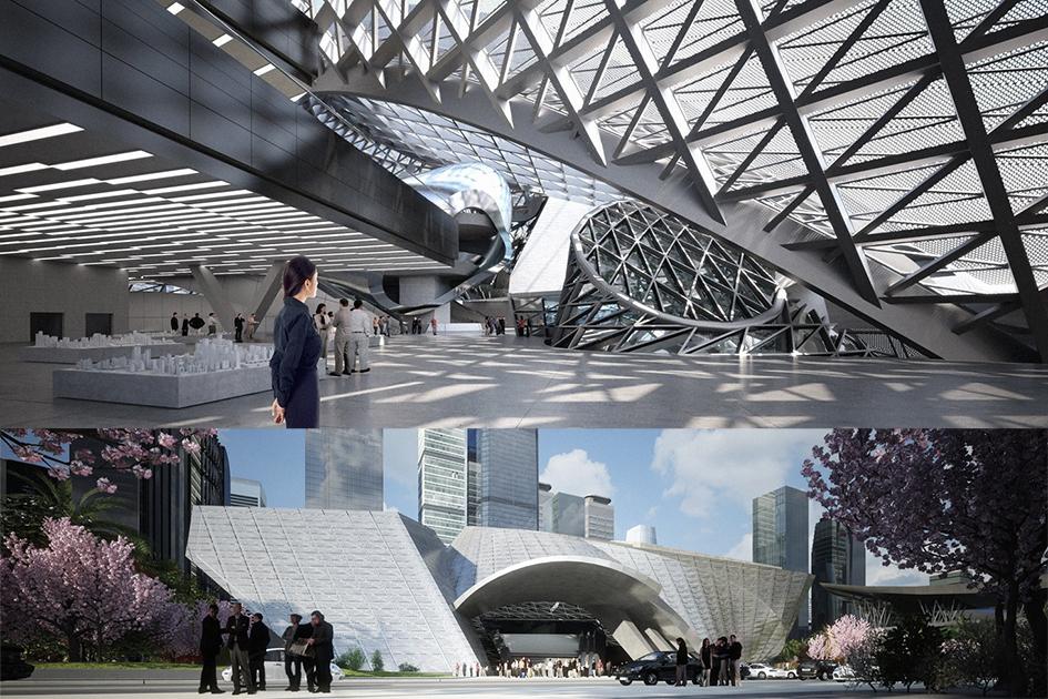 Общая площадь всех этажей музея современного искусства составляет 80тыс.кв.м. В длину сооружение достигает 160м, вширину— 140м. Высота равна 40м