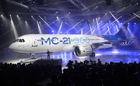 Церемония выкатки магистрального самолета МС-21-300 наавиационном заводе корпорации «Иркут»