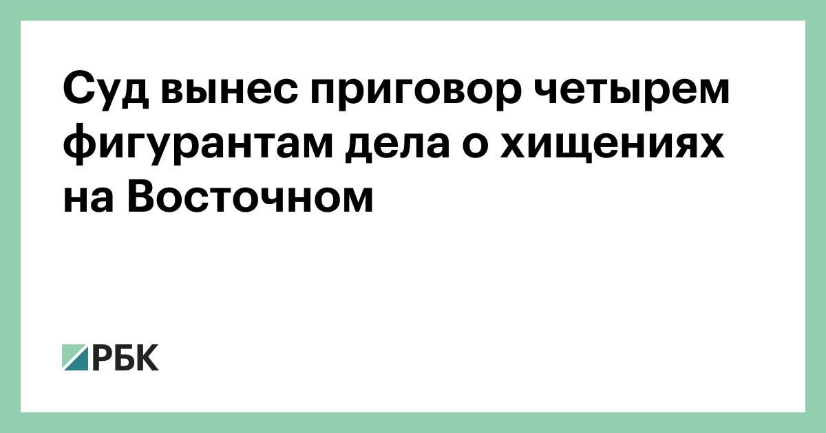 Суд вынес приговор четырем фигурантам дела о хищениях на Восточном :: Общество :: РБК - ElkNews.ru