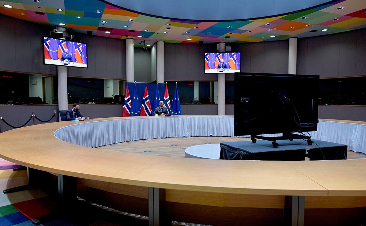 Видеоконференция в здании Европейского совета в Брюсселе