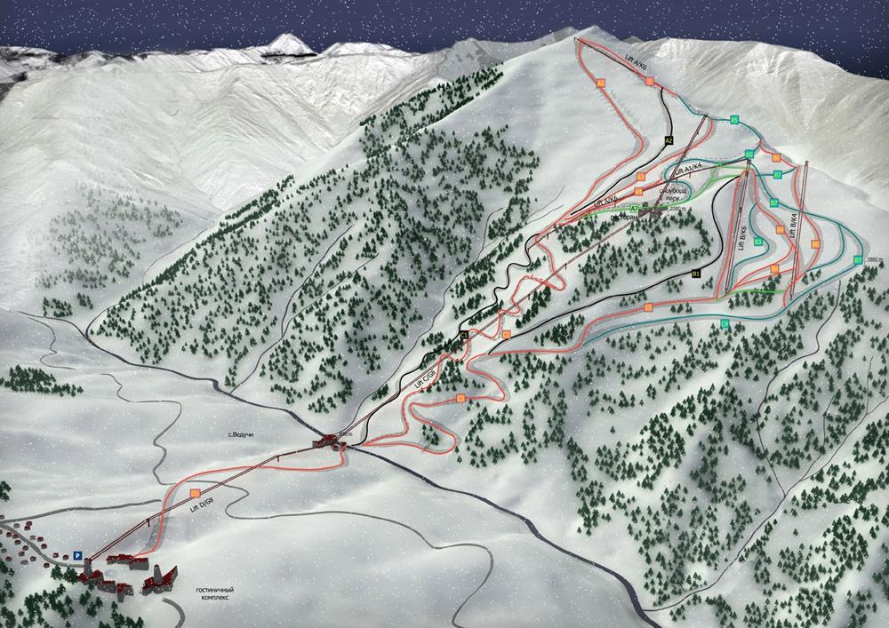 Схема расположения горнолыжных трасс