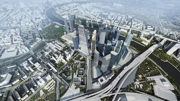 Перспективный вид «Москва-Сити» с башней 1Tower