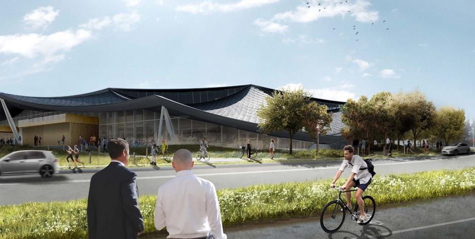 По всему кампусу ивокругнего проложат велодорожки, которые свяжут штаб-квартиру сдругими зданиями Google иокрестными городами