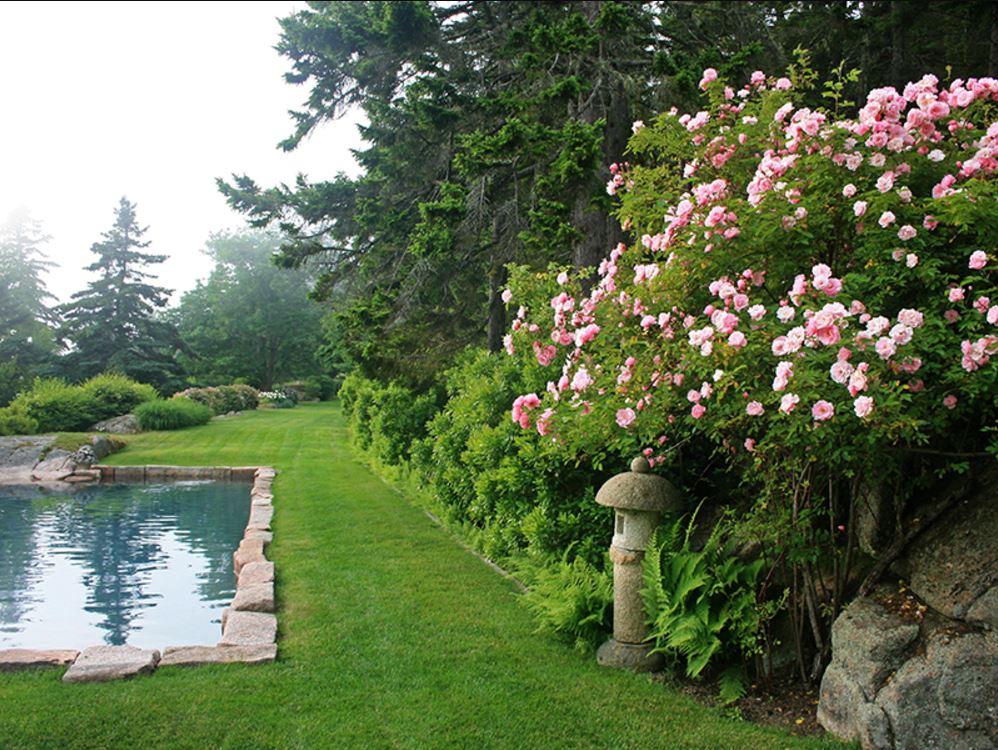 На участке рядом с домом находятся гранитный бассейн, сад фруктовых деревьев, розовые кустарники, а также парковка и гараж на две машины