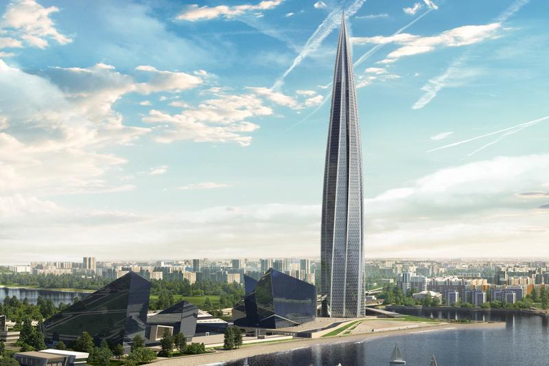Визуализация двух очередей «Лахта Центра»: небоскреба и зданий у его подножия