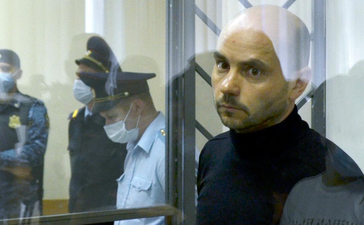 Андрей Пивоваров во время избрания меры пресечения в Первомайском суде.