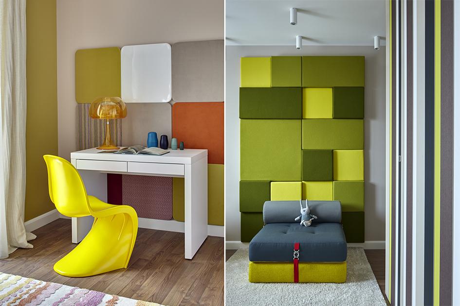 Прямоугольные линии обоев исерьезный письменный стол уравновешивают яркие цветовые пятна вродедизайнерского желтого стула илилового панно настене. В результате детская одинаково хорошо подходит идляигр, идлязанятий