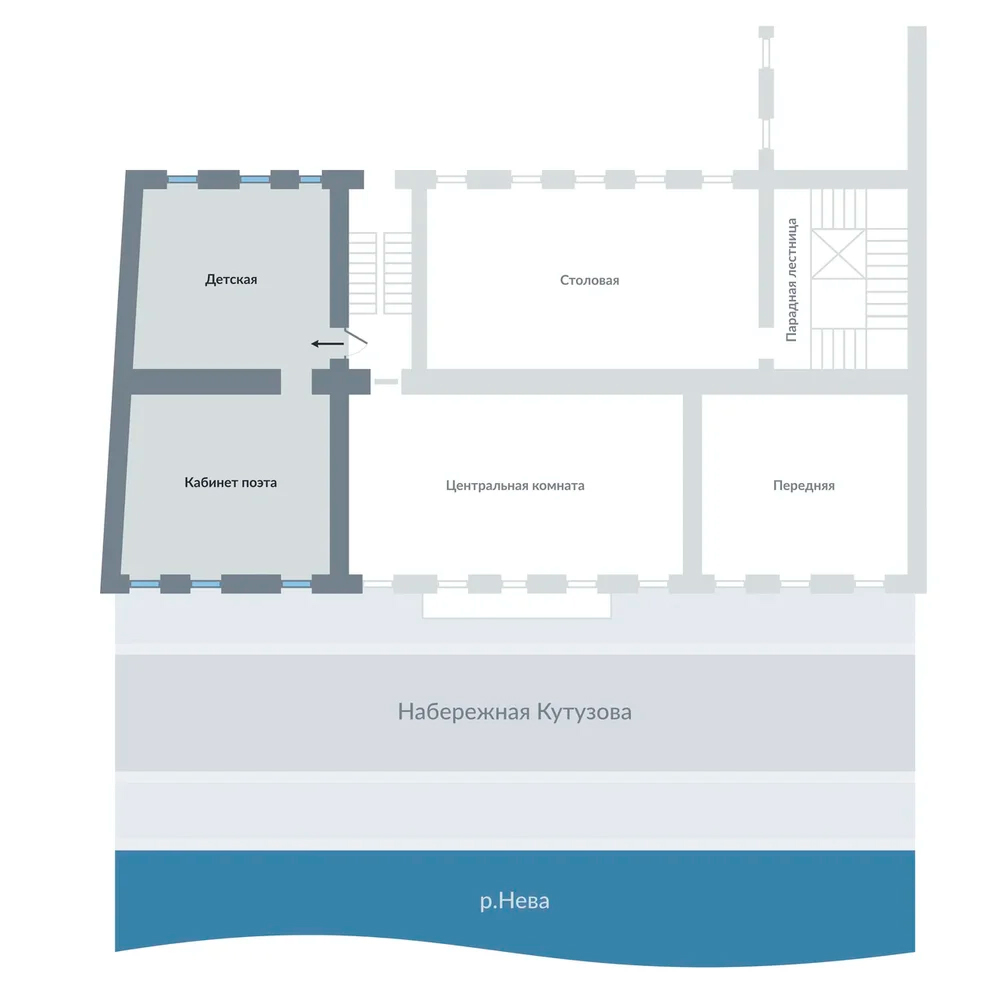 Реконструкция схемы комнат бельэтажа