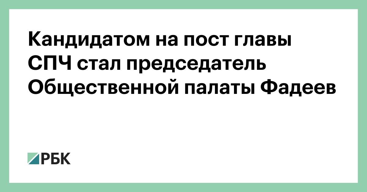 Кандидатом на пост главы СПЧ стал председатель Общественной палаты Фадеев