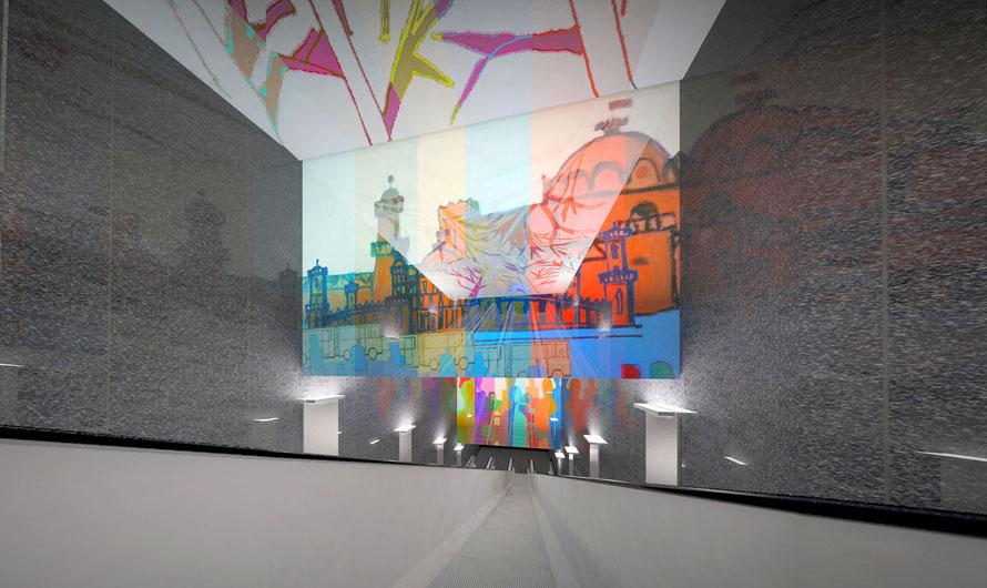 Отличительной особенностью дизайна взоне эскалаторов станет изображенный навитраже силуэт Петровского путевого дворца, которыйрасположен рядомсбудущей станцией