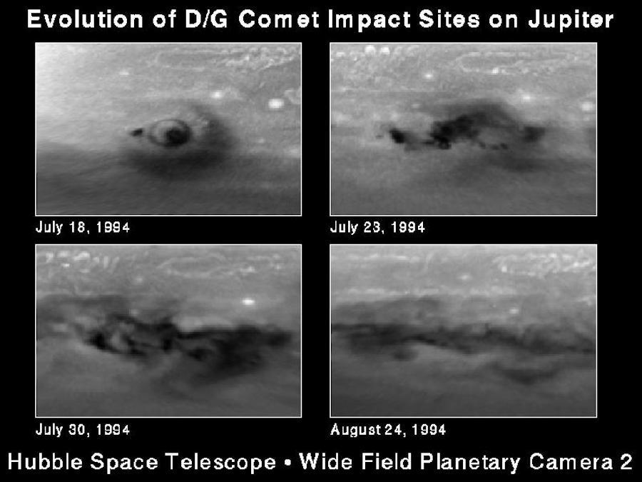 Серия снимков, сделанных с помощью космического телескопа «Хаббл» NASA, показывает эволюцию области падения кометы Шумейкера-Леви