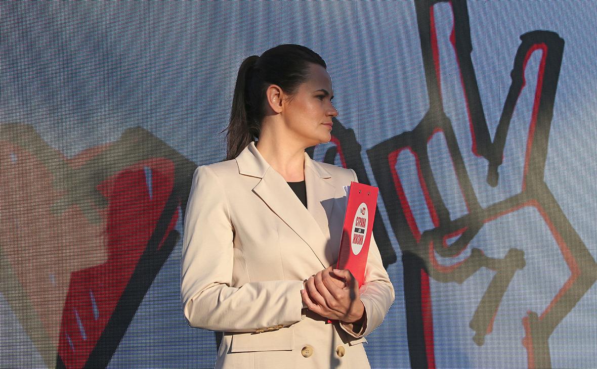 Кандидат в президенты Белоруссии Светлана Тихановская во время митинга в свою поддержку