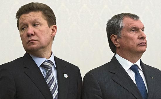 Председатель правления компании «Газпром» Алексей Миллер (слева) и президент — председатель правления ОАО «НК «Роснефть» Игорь Сечин
