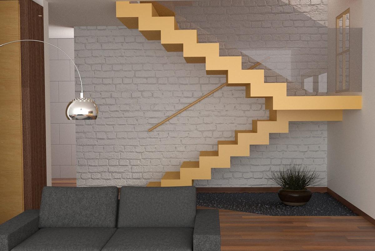 Лестница в двухэтажных апартаментах