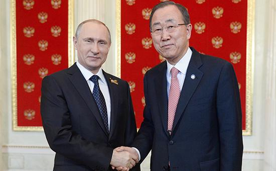 Президент России Владимир Путин и генеральный секретарь ООН Пан Ги Мун в Кремле