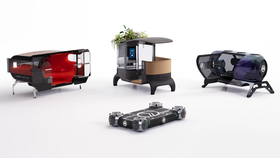 Смена надстройки занимает 10 секунд. На данный момент представлены 3 варианта «кабин», дизайн которых Citroën разработал совместно с гостиничным гигантом Accor и холдингом JCDecaux в рамках The Urban Collëctif, однако в будущем компания планирует увеличить их количество и разнообразие.