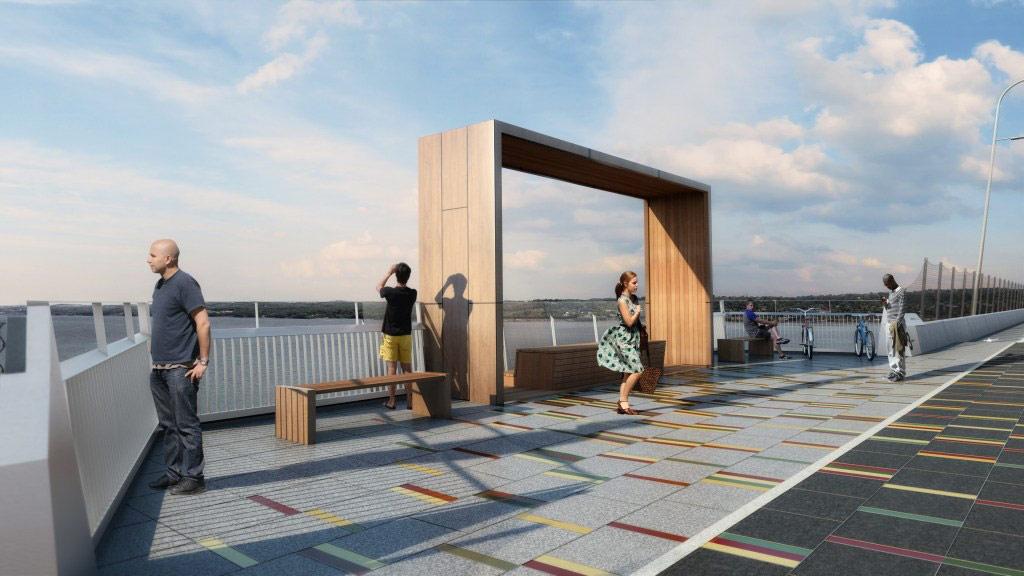 Проект моста включает в себя также пешеходно-велосипедные дорожки и шесть смотровых площадок с уникальным дизайном
