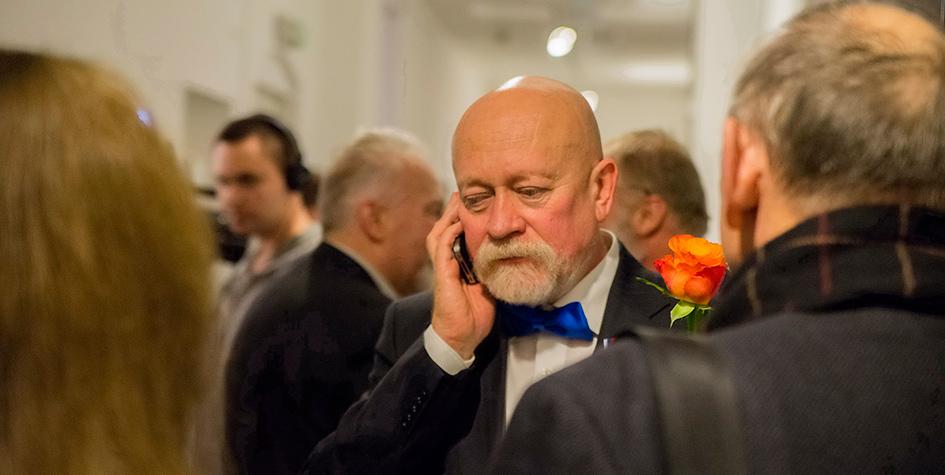 Архитектор Николай Шумаков на открытии своей выставки в Московском музее современного искусства