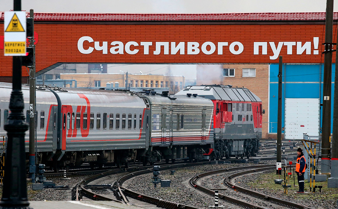 Отправление фирменного поезда «Янтарь» с Южного вокзала в Калининграде