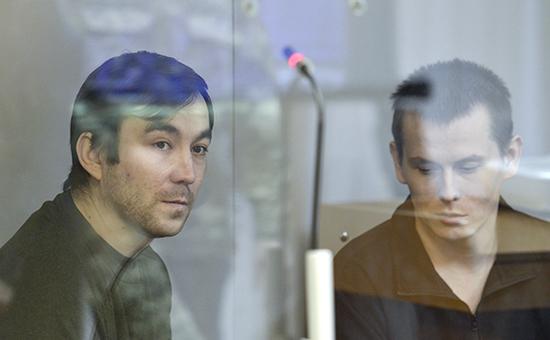 Евгений Ерофеев иАлександр Александров назаседании суда вКиеве, декабрь 2015года