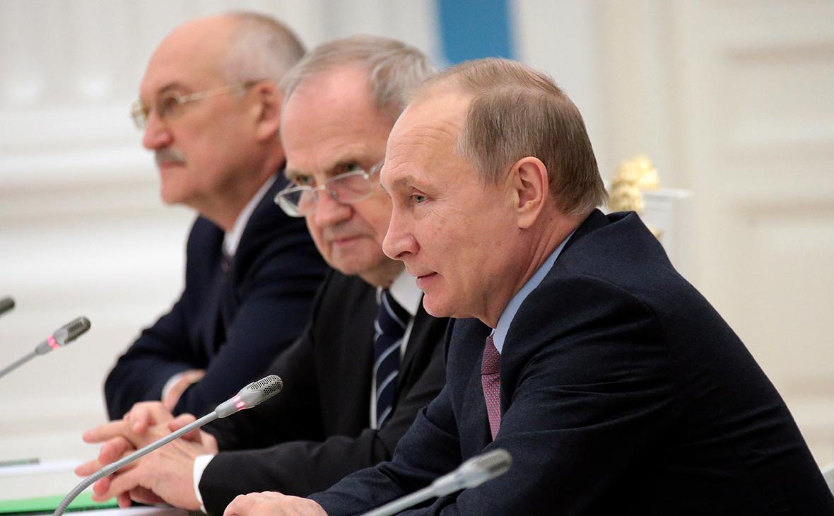 Сергей Маврин,Валерий Зорькин и Владимир Путин (слева направо)