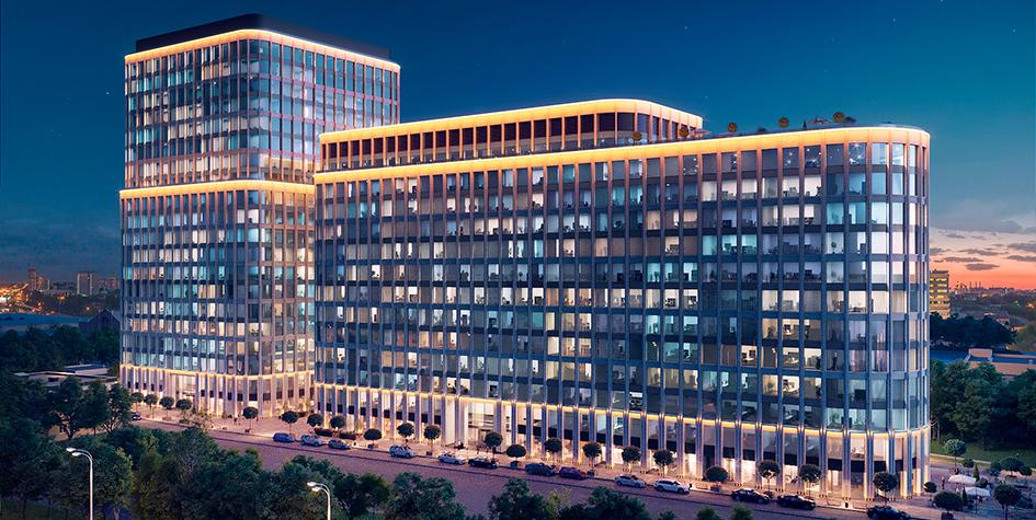 Проектный вид нового бизнес-центра на улице Грузинский Вал