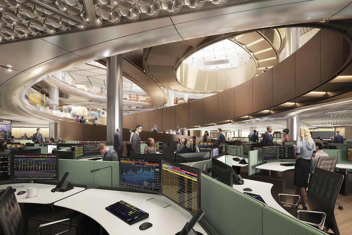 Одним из основных архитектурных элементов офиса станет сквозная спиральная лестница, соединяющая семь из девяти этажей здания