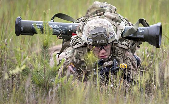 Солдат на военных учениях НАТО в Литве, 2016 год