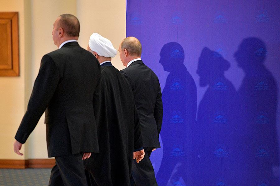 Ильхам Алиев,Хасан Рухани иВладимир Путин (слева направо)
