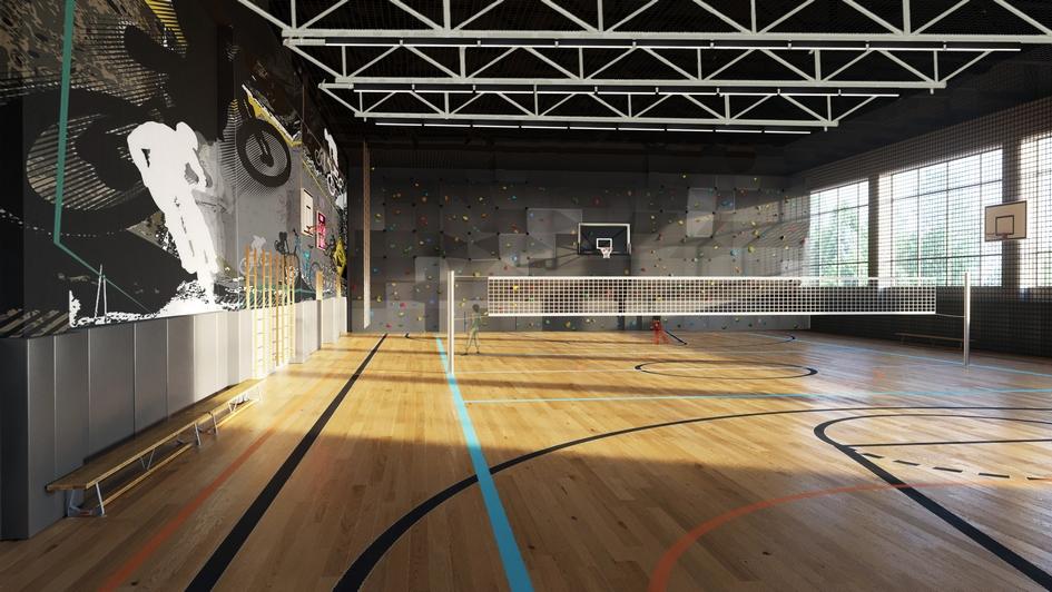 В школе есть еще один игровой зал для малышей. Мягкое полиуретановое покрытие пола с 10-миллиметровым матом-подложкой совершенно безопасно для бега, падений и столкновений. Оба спортивных зала акустически защищены специальным потолочным напылением и звукопоглощающими панелями