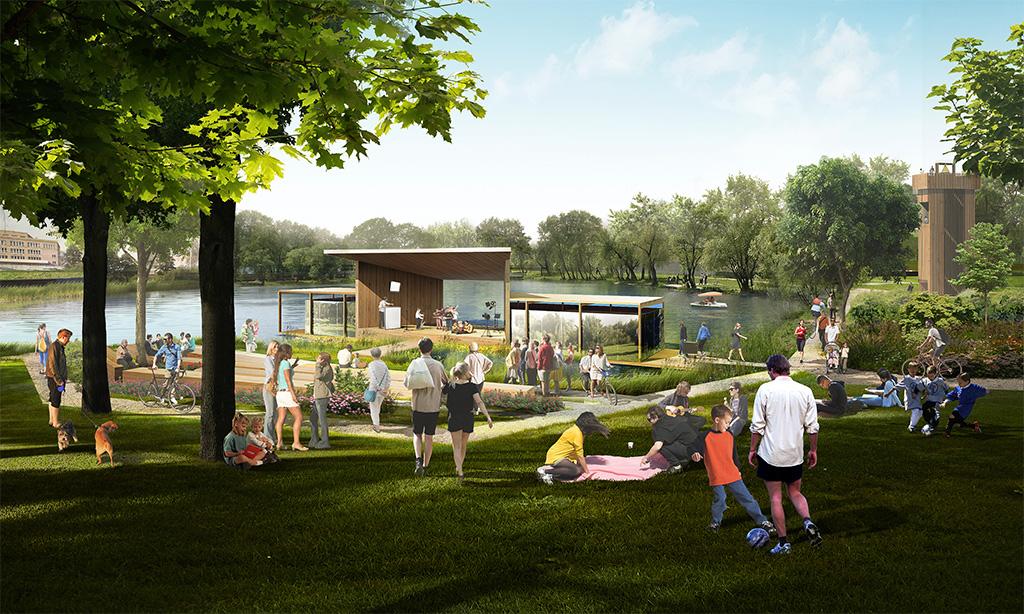 После благоустройства в парке появятся «балкон» для рыбалки, зона отдыха и детские аттракционы