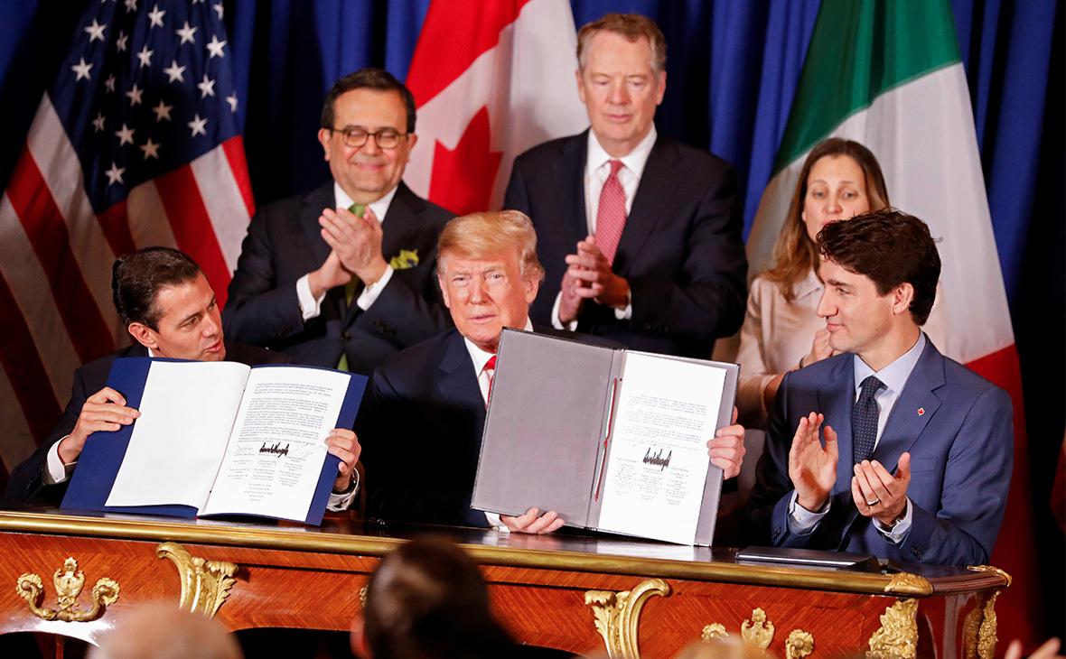 Энрике Пенья Ньето, Дональд Трамп и Джастин Трюдо (слева на право)