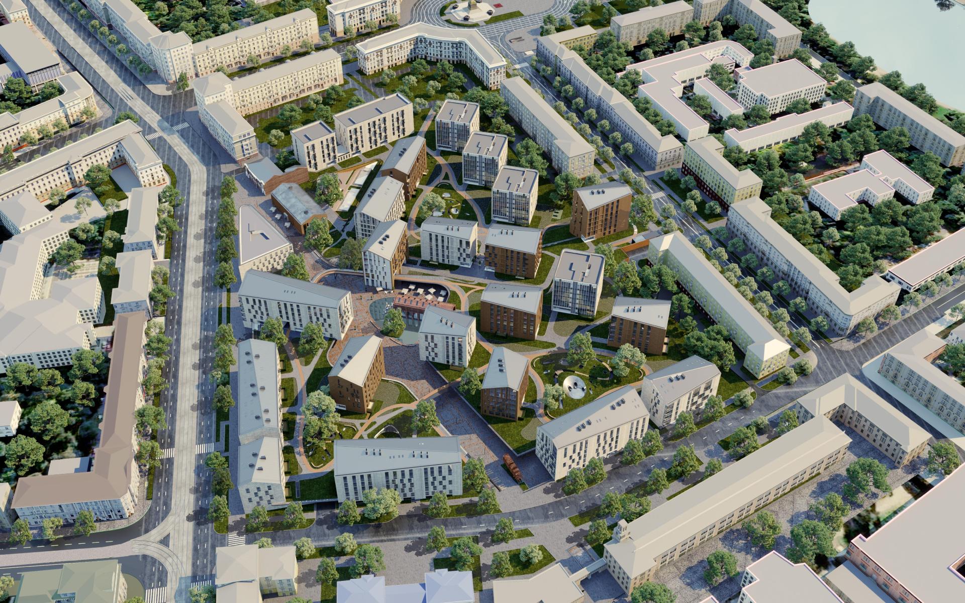Вид на квартал DEPO в центре Минска. Визуализация ГК «А-100 Девелопмент»