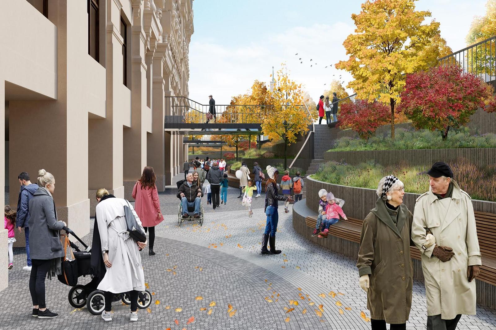 Дизайн парка с амфитеатром и пешеходной зоной разработало архбюро Wowhaus