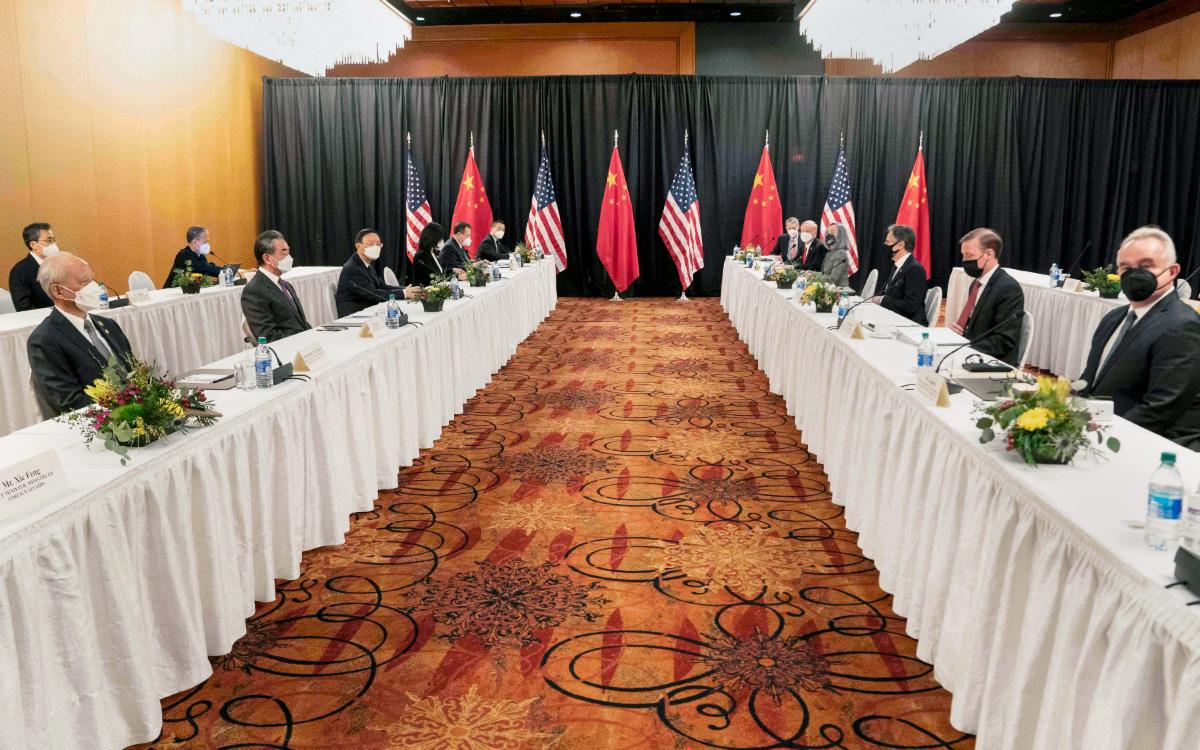 Переговорывысокопоставленных представителей США и Китаяв Анкоридже (штат Аляска, США)