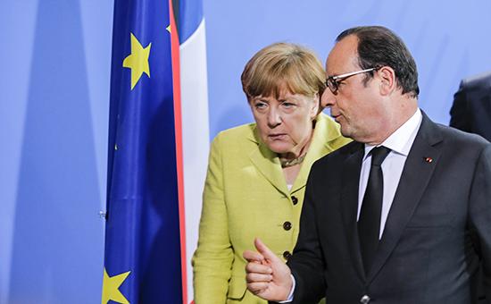 Канцлер Германии Ангела Меркель ипрезидент Франции Франсуа Олланд