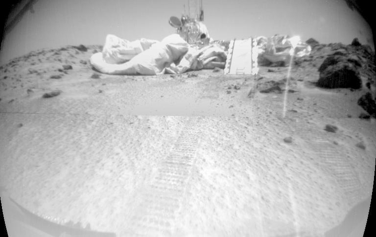 Мемориальная станция Карла Сагана на Марсе. Фото сделано марсоходом Соджорнер